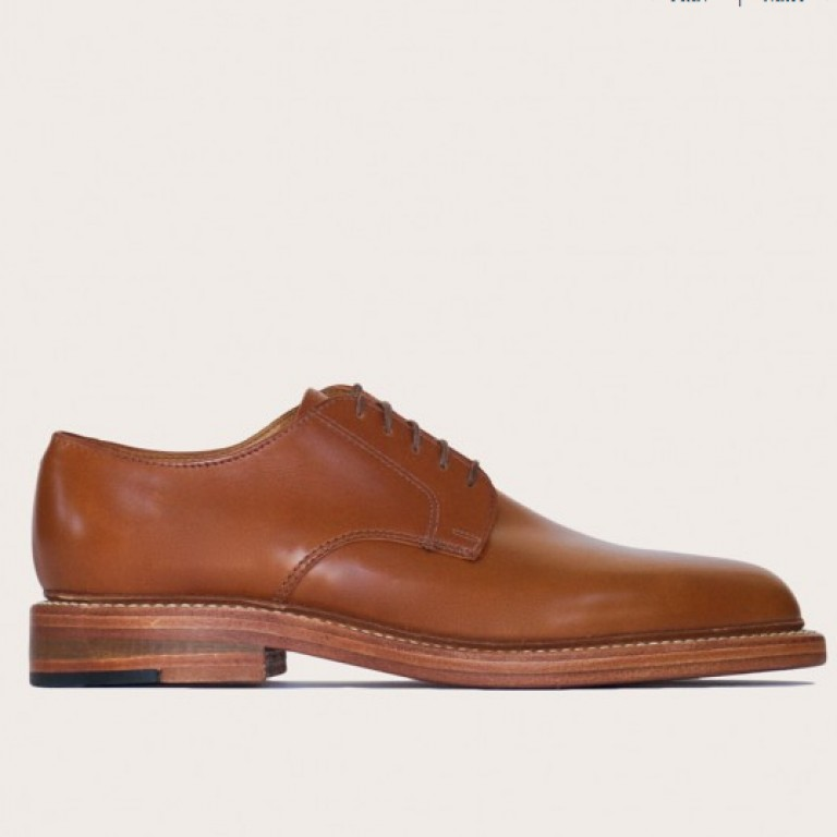 Oak Street Bootmakers - Dress Shoes - Cognac Double Sole Plain Toe Blucher 1.26.16