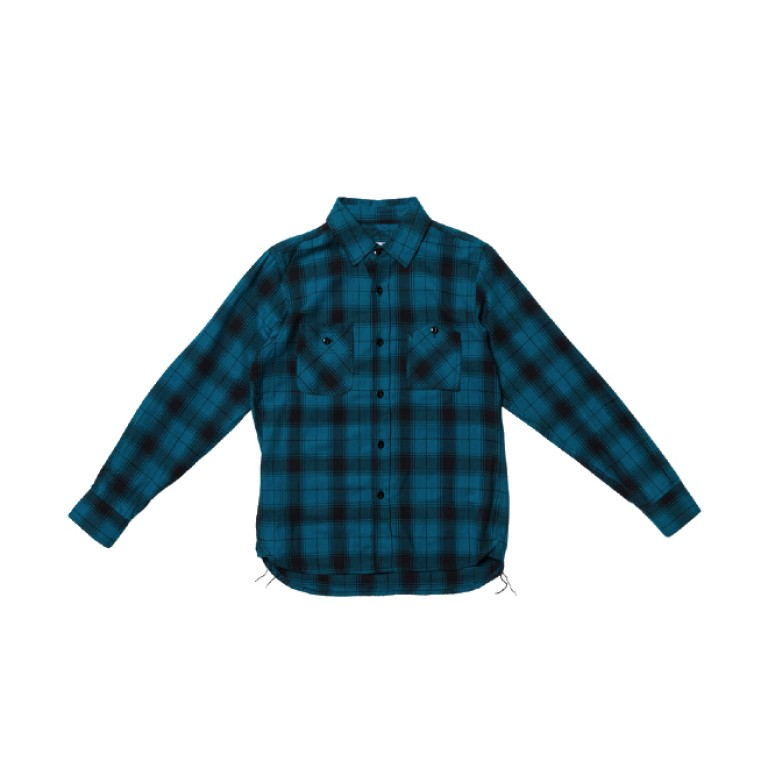3sixteen - Casual Button-Down Shirts - Long Sleeve Workshirt Aqua Diamond Plaid