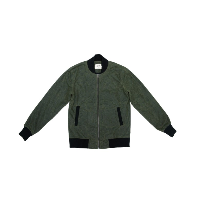 3sixteen - Coats and Jackets - Stadium Jacket Olive Waxed Canvas
