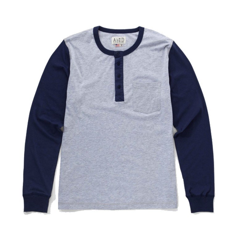 Almond Surfboards - T-Shirts - Long Sleeve Slingshot Henley Heather