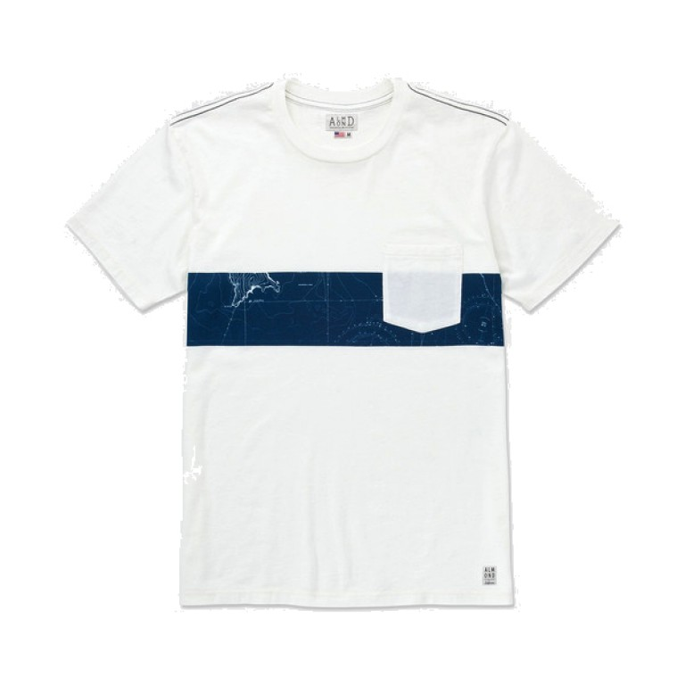 Almond Surfboards - T-Shirts - Map Stripe Knit White