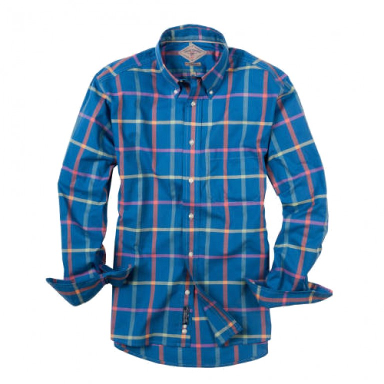 Bills Khakis_Categories_Casual Button-Down Shirts_Images_Robinson Plaid Navy Windowpane 4.26.15