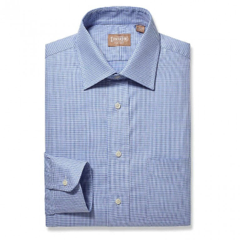 Gitman Bros - Dress Shirts - Medium Spread Windowpane Blue