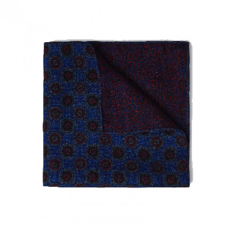 Gitman Bros - Ties and Pocket Squares - Medallion Pocket Square Blue