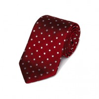 Gitman Bros - Ties and Pocket Squares - Woven Dot Tie Red