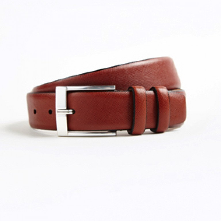 hickey freeman brown saffiano calfskin leather belt