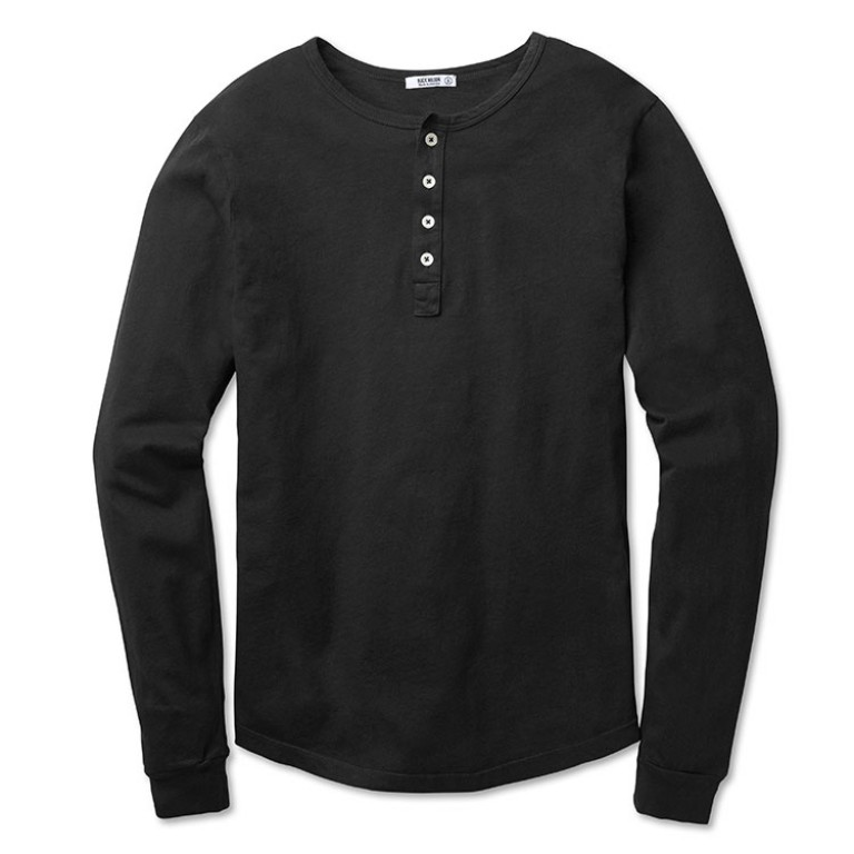buck mason black henley shirt