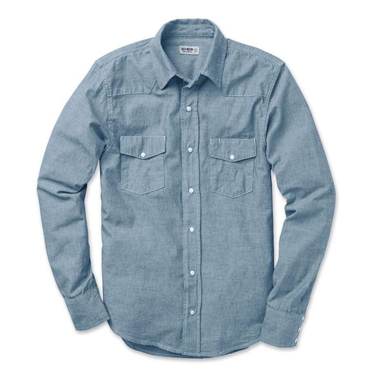 buck mason bleached indigo pearl snap sport shirt