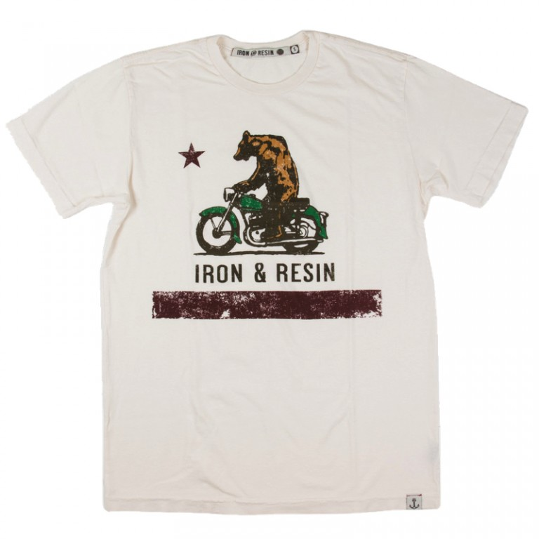 Iron and Resin - T-Shirts - Iron and Resin Moto Bear T-Shirt Vintage White