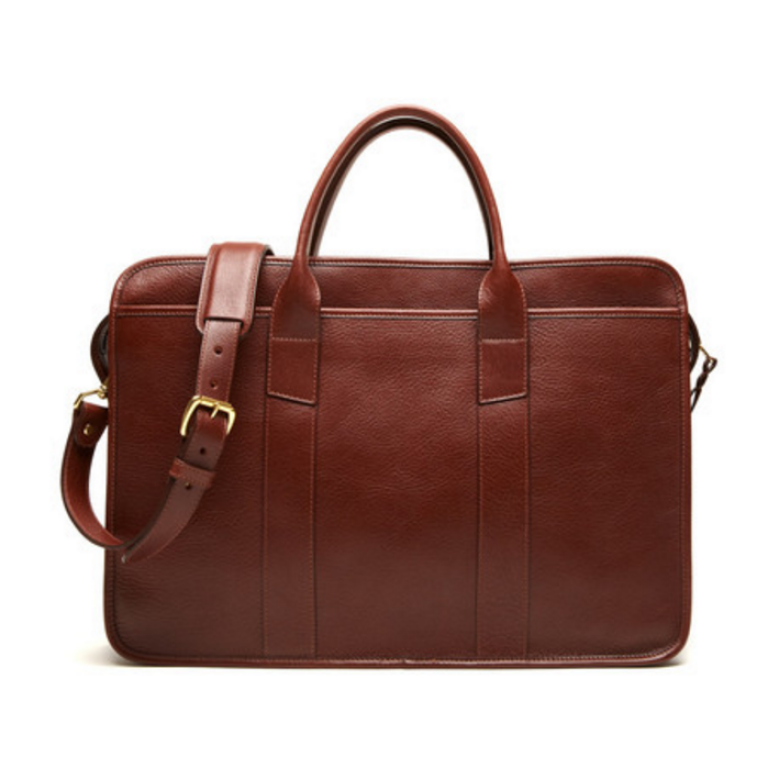 Lotuff - Bags and Wallets -Leather Zip-Top Briefcase Chestnut