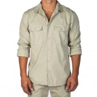 Save Khaki United - Casual Button-Down Shirts - L-S Light Twill Camp Shirt