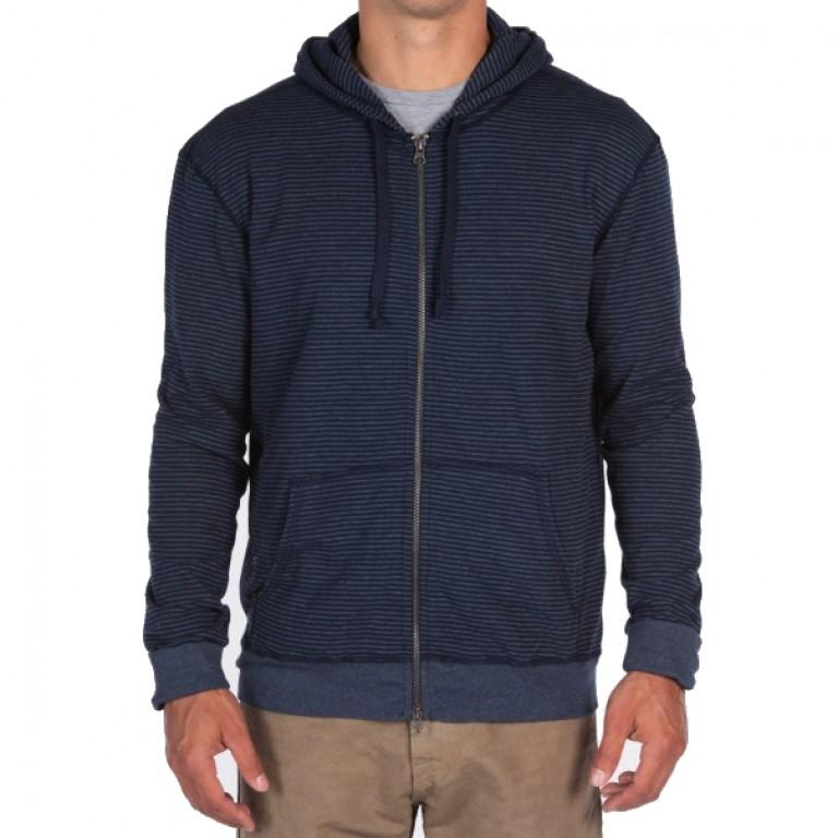 Save Khaki United - Sweatshirts - Stripe Pointelle Zip Hooded Sweatshirt