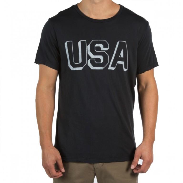 Save Khaki United - T-Shirts - S-S USA Block Print Tee