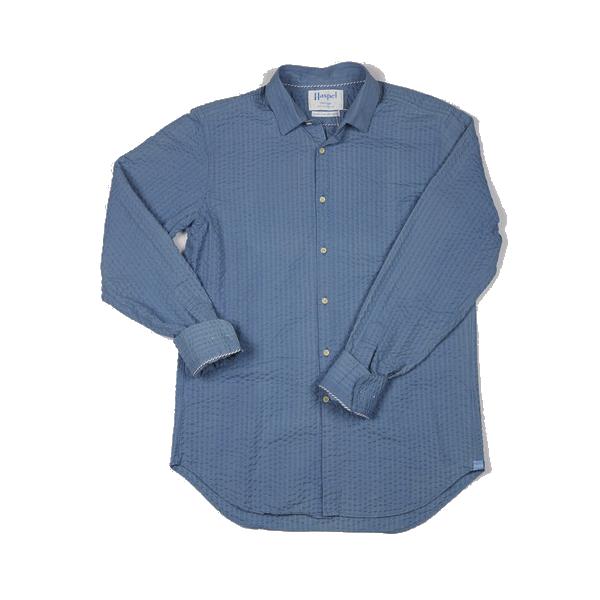 Haspel - Casual Button-Down Shirts - Badine Light Blue Pucker
