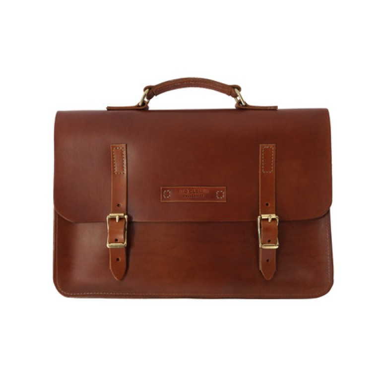 red clouds collective brown leather briefcase