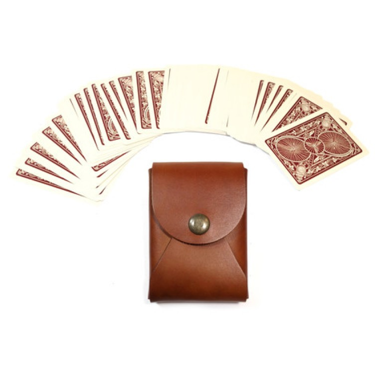 red clouds collective saddle tan leather maverick playing card case