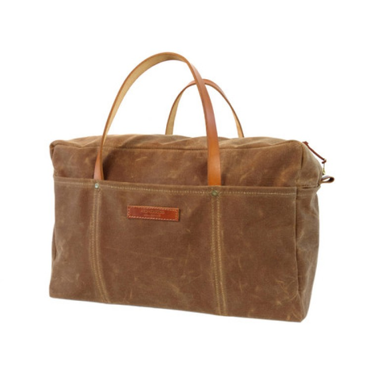 red clouds collective brushed brown waxed canvas duffle bag