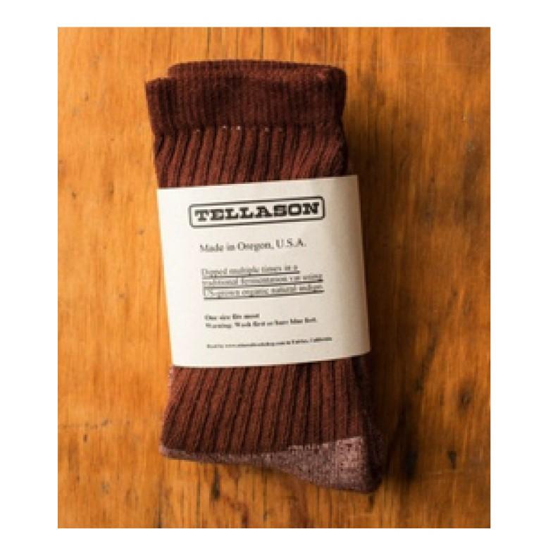 tellason acorn brown dyed crew socks