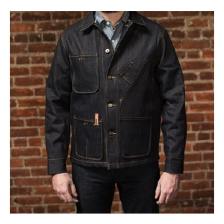 tellason hickory stripe lined coverall denim jacket