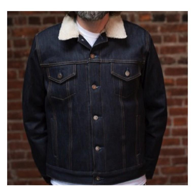 tellason selvedge denim jean jacket with lining