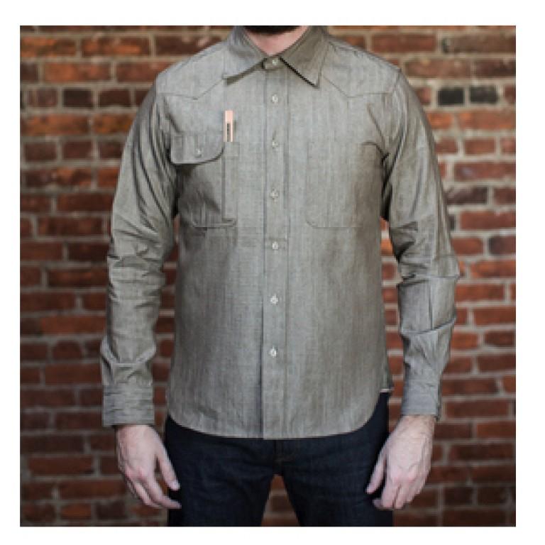 tellason topper brown denim shirt