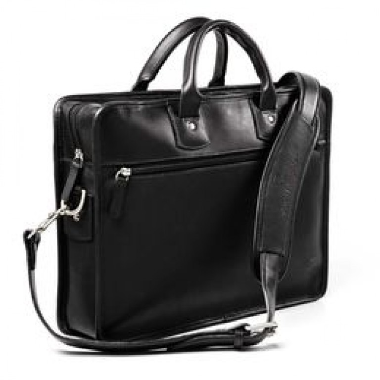 allen edmonds black leather gusset briefcase