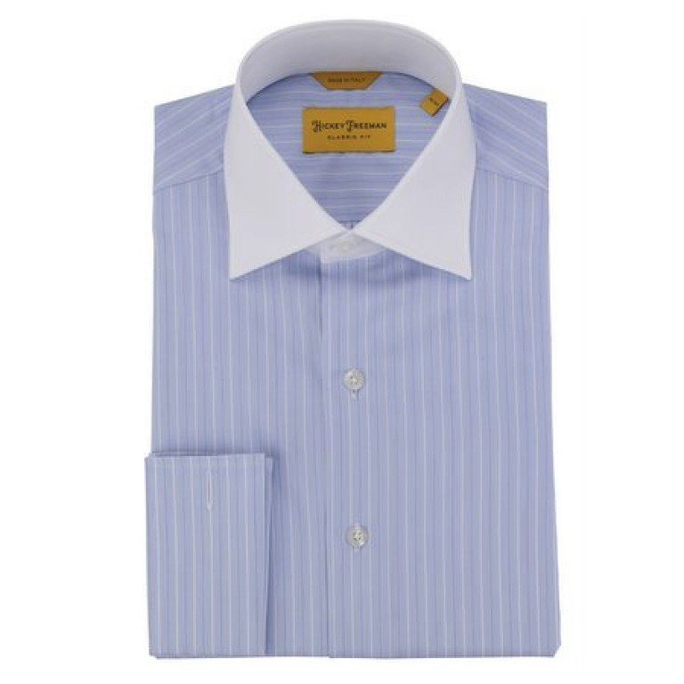 Hickey Freeman - Dress Shirts - Blue-White Stripe French Cuff Dress Shirt