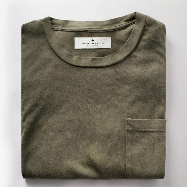 Imogene + Willie - T-Shirts - Olive Knit Pocket Tee 1.22.16