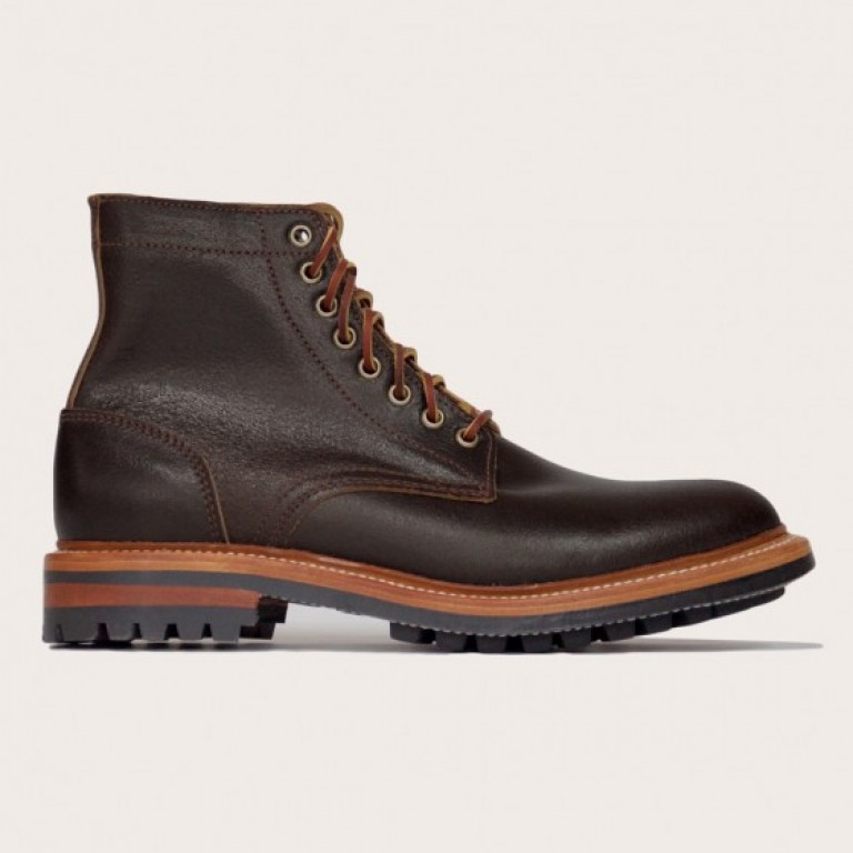 Oak Street Bootmakers - Boots - Brown Waxed Flesh Commando Sole Trench Boot 1.26.16
