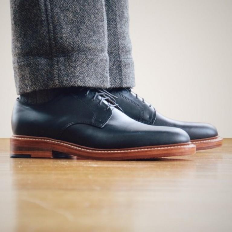 Oak Street Bootmakers - Dress Shoes - Black Double Sole Plain Toe Blucher 1.26.16
