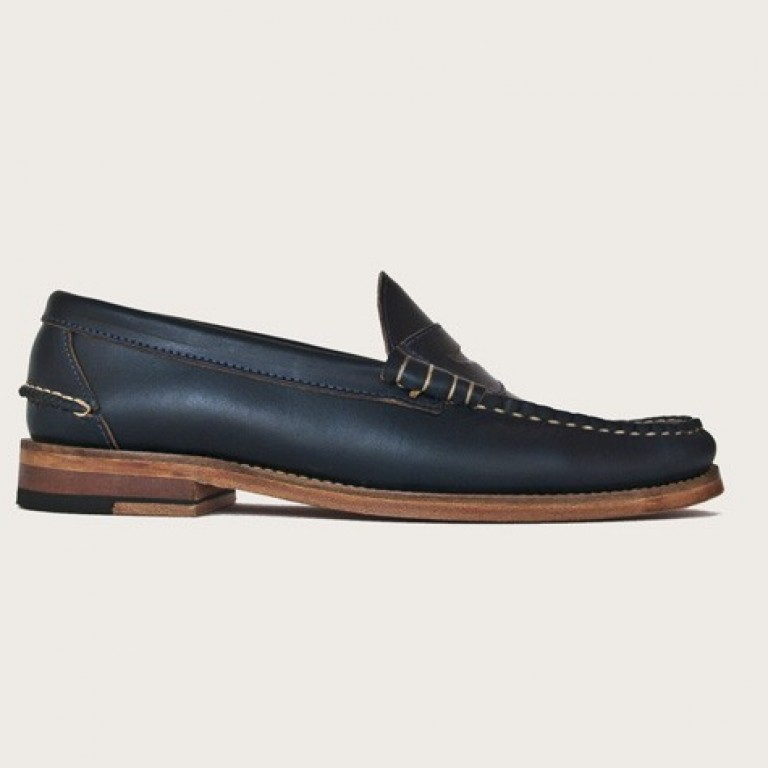 Oak Street Bootmakers - Dress Shoes - Navy Beefroll Penny Loafer 1.26.16