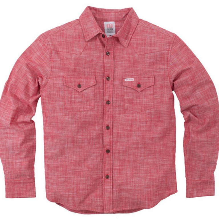 Topo Designs - Casual Button-Down Shirts - Mountain Shirt - Chambray - Red - 5Designs - Casual Button-Down Shirts