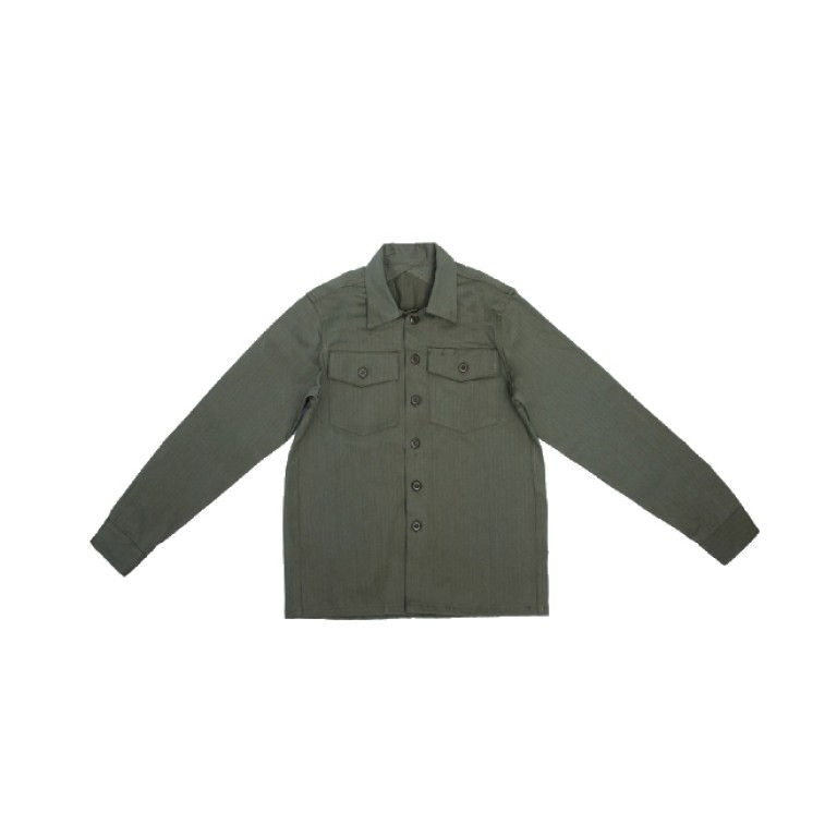 3sixteen - Casual Button-Down Shirts - Fatigue Overshirt Olive Herringbone Twill