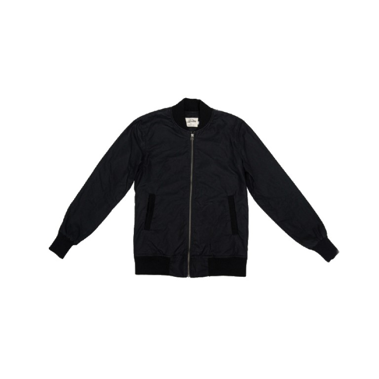 3sixteen - Coats and Jackets - Stadium Jacket Black Waxed Canvas