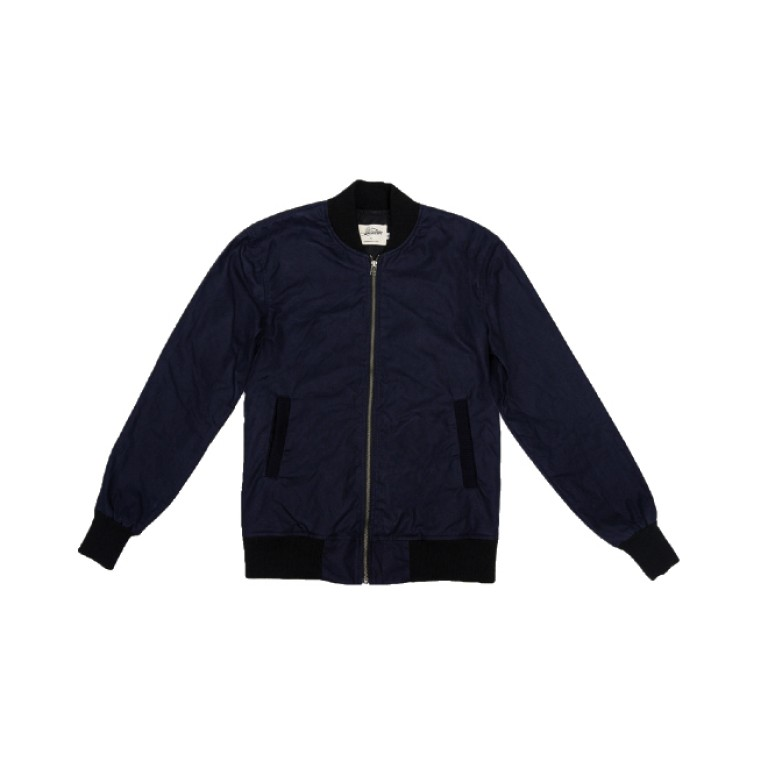 3sixteen - Coats and Jackets - Stadium Jacket Navy Waxed Canvas