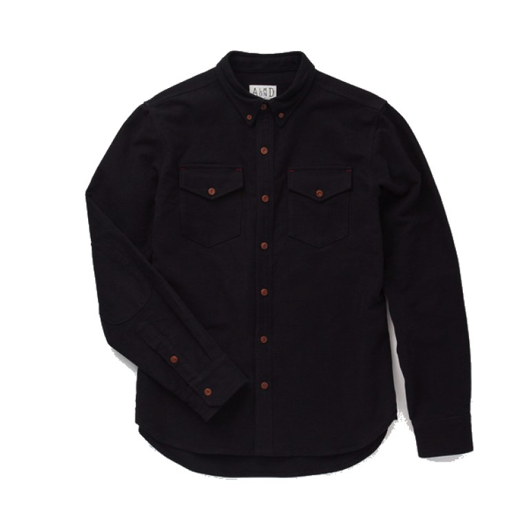 Almond Surfboards - Casual Button-Down Shirts - Survey Chamois Shirt-Jacket Black