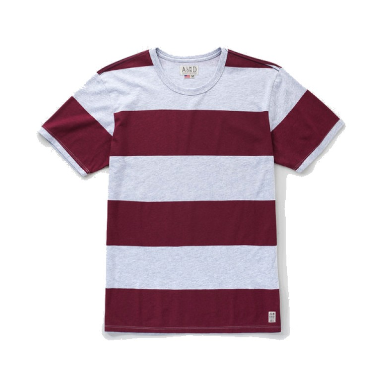 Almond Surfboards - T-Shirts - Heritage Stripe Maroon