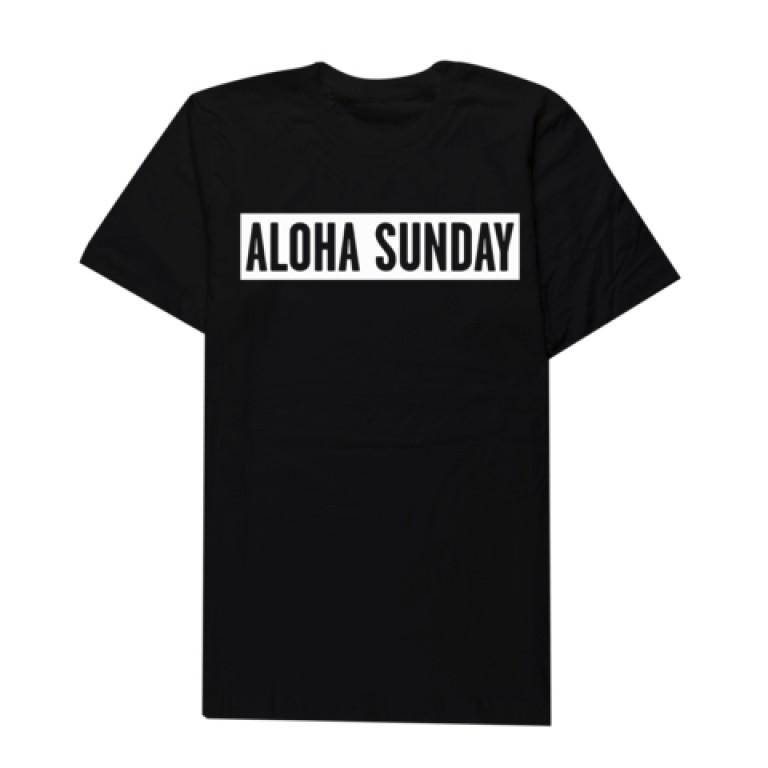 Aloha Sunday - T-Shirts - Bumper White Print Black