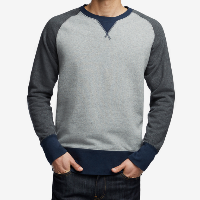 American Giant - Sweatshirts - Classic Crew Grey Navy Colorblock