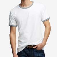 American Giant - T-Shirts - Essential Ringer T White Heather