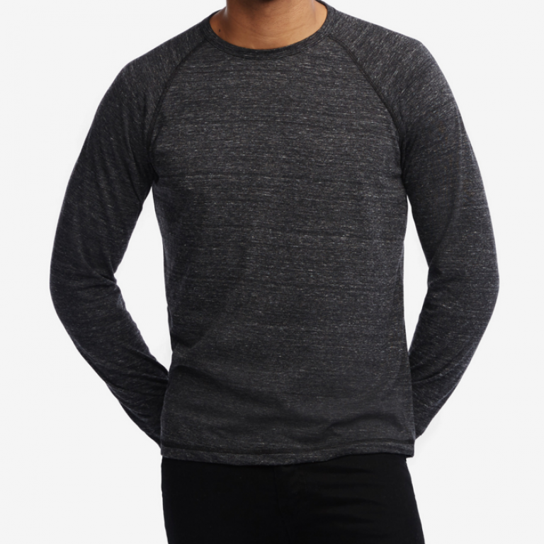 American Giant - T-Shirts - Lightweight Raglan Crew Charcoal Heather