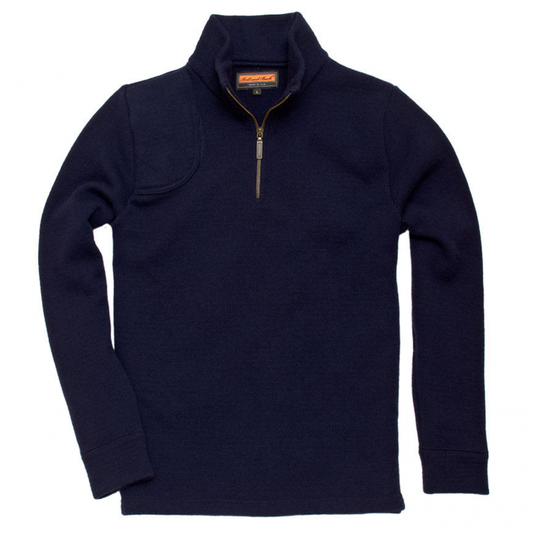 Ball and Buck - Sweaters -Quarter-Zip-Pullover-Navy-Wool