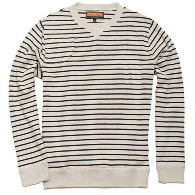 Ball and Buck - Sweaters -The-Crewneck-Pullover-Pelican-Dark-Saphire-Stripe