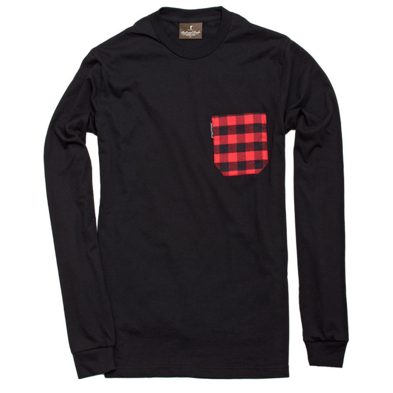 Ball and Buck - T-Shirts - The-5oz-Long-Sleeve-Pocket-Tee-Black-Buffalo