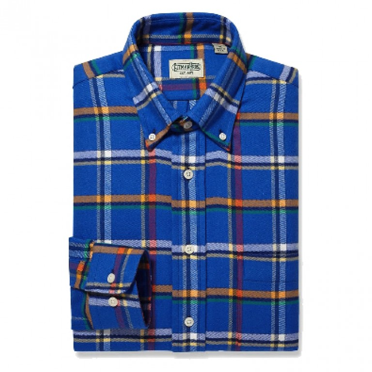 Gitman Bros - Casual Button-Down Shirts - Button Down Blue Flannel Plaid