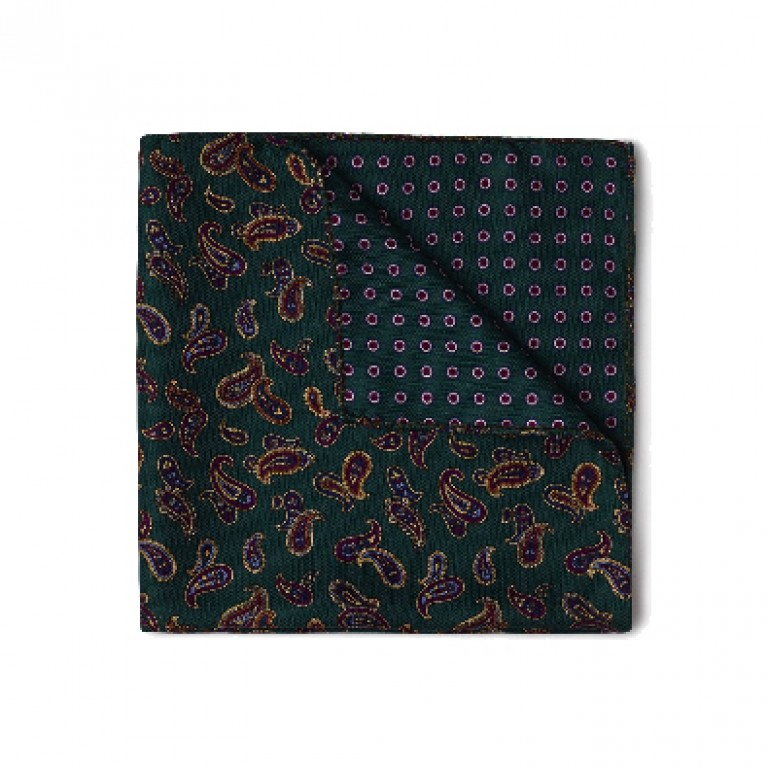 Gitman Bros - Ties and Pocket Squares - Paisley Pocket Square Green