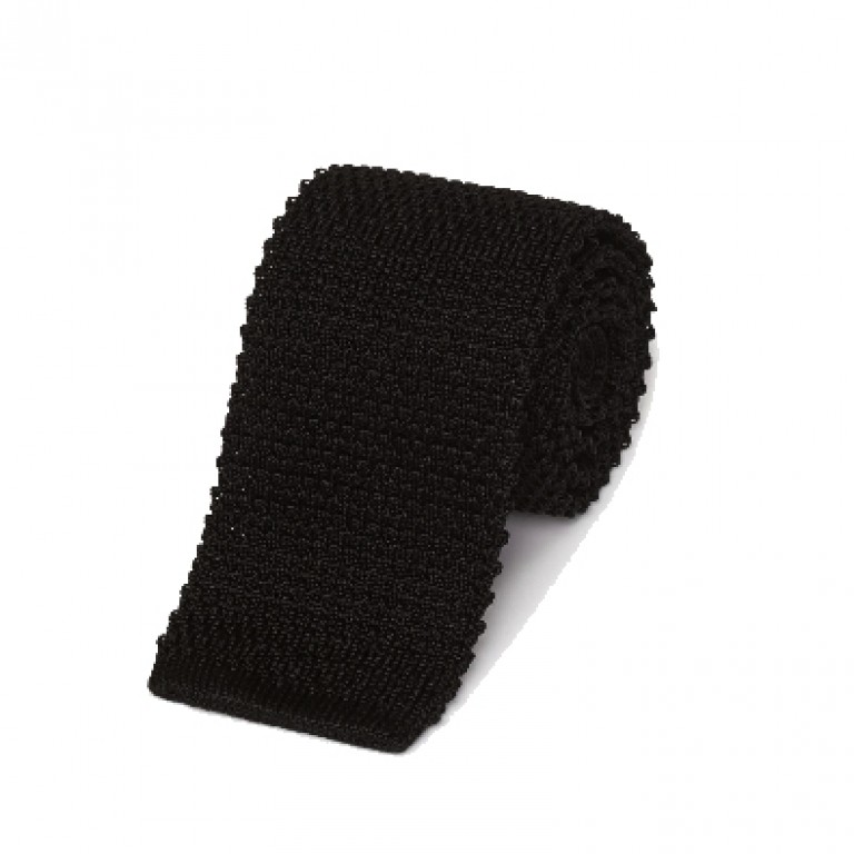 Gitman Bros - Ties and Pocket Squares - Silk Tie Knit Black