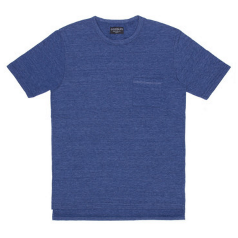Goodlife - T-Shirts - Pocket Crewneck with Split Hem T-Shirt Navy