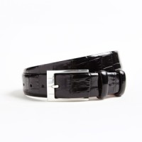 hickey freeman black glazed crocodile tail calf skin belt