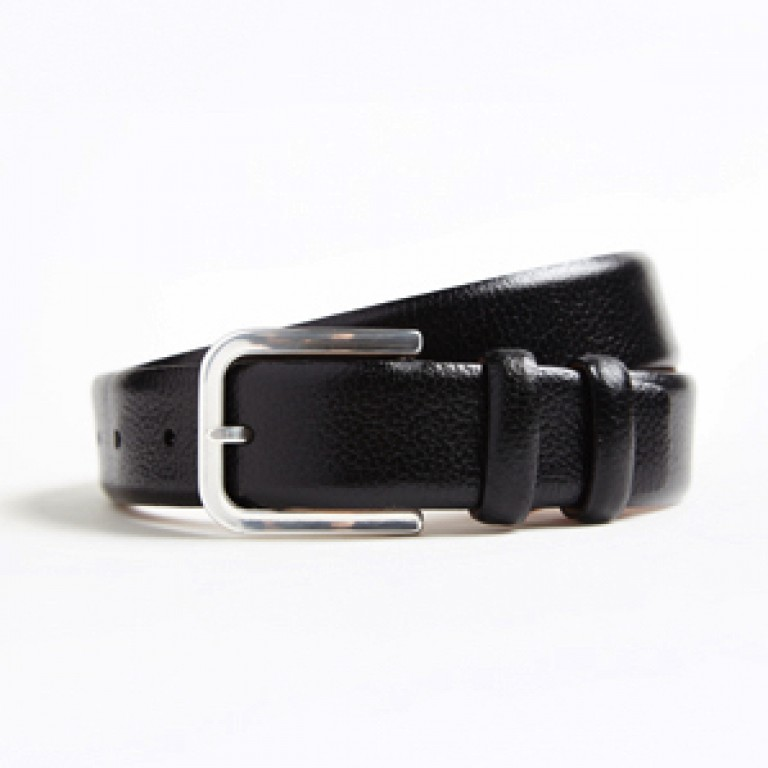 hickey freeman black pebble grain calfskin leather belt